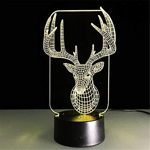 7 Bunte Usb Nette 3D Weihnachten Deer Schlafzimmer Lampe Büro Dekoration Schreibtisch Tischlampe Kind Nachtlichter Weihnachtsgeschenk