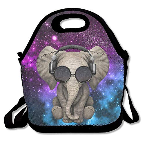 Elephant Glasses Galaxy Lunch Tote Bag Bags Awesome Lunch Handbag Lunchbox Box for School Work Outdoor