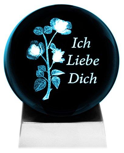 Kaltner Präsente luz bolas 3D de cristal con iluminación LED - romántico diseño de rosas con texto te amo