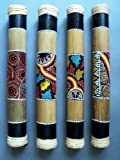 BAMBOO RAINSTICK WITH ABORIGINAL STYLE DOT PAINTING