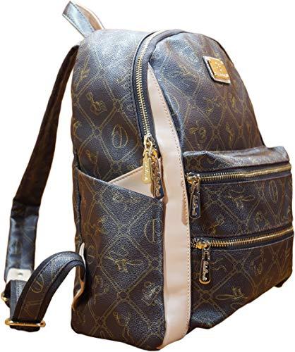 Rucksack Damen Mädchen Reisen Schultasche Lederimitat modern Handgepäck in Verschiedene Farben (Braun)