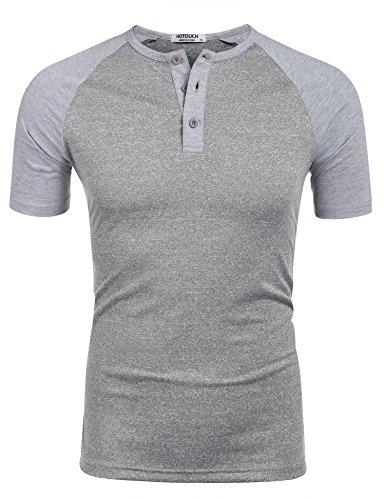 HOTOUCH Herren Basic T-Shirt Kurzarm Regular Fit Henleyshirt Granddad T-Shirt HellGrau L (Henley Raglan Top)