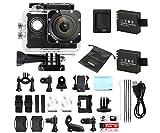 Caméra Embarquée Sport Full HD 1080P 12MP WiMiUS Q2 WIFI Etanche 30m Action Cam Kit d'Aceessoires avec 2 Batteries (Noir)