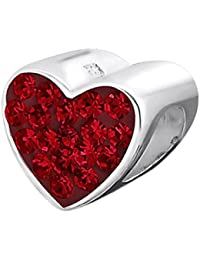 So Chic Joyas - Abalorio Charm Cristal rojo Corazón - Compatible con Pandora, Trollbeads, Chamilia, Biagi - Plata 925