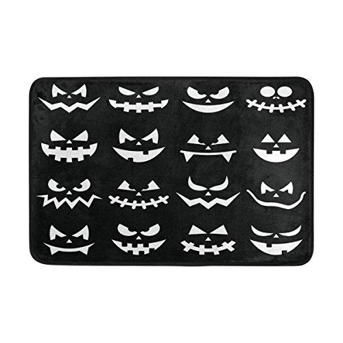 Coosun Scary Halloween Kürbis Gesichter auf schwarzem Hintergrund Fußmatte, Eintrag Weg Indoor Outdoor Tür Teppich mit Anti Rutsch, (23,6 von 15,7-Zoll)