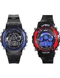 Maan International Sports Digital Multicolor Dial Kids Watch (Combo of 2) - M-Seven-Light-Blue+Red