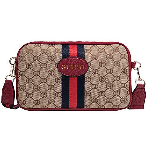 Lwlroyti Women Shoulder Bags und Geldbeutel Mode gedruckt breites Band Diagonale Tasche lässig doppelte Retro-Brief Handy Geldbörse, rot -