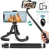 Coolwill PL-1828 Bastone treppiede/selfie per telefono flessibile con telecomando senza fili Bluetooth e clip girevole a 360 ° Mini treppiede da viaggio per iPhone, Android(nero)