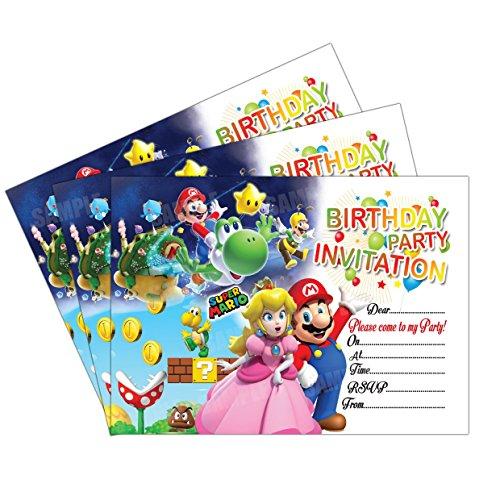 20 X Super Mario Kids Birthday Party Invitations Invites Cards