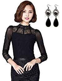 sitengle Damen Langarmshirt Elegant Lace Blusen Spitze Langarm OL Business  Party T-Shirt Tops 8ed9ded3e7