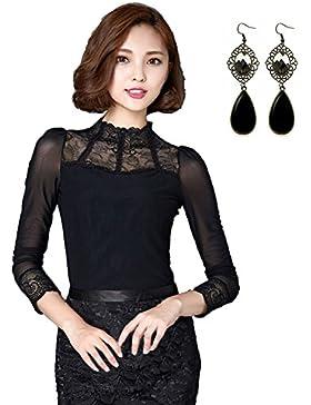 Sitengle Damen Langarmshirt Elegant Lace Blusen Spitze langarm OL Business Party T-Shirt Tops