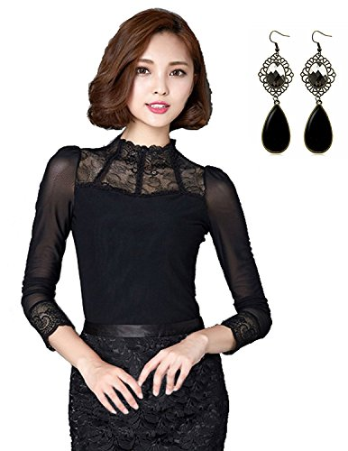 Sitengle Damenbluse Elegant Lace Blusen Spitze langarm Slim Fit Stehkragen mit Futter OL Business Party T-Shirt Tops, Schwarz, Gr. L/EU40