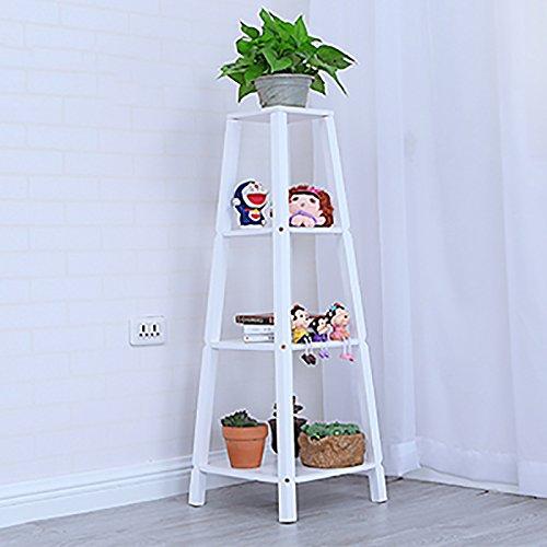 Support de plancher de fleur rétro en bois Pot de fleurs vert intérieur Bonnie Pergola ( Couleur : Blanc , taille : 4 layer )