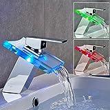 Itian LED Hahn, Vollkupfer Wasserfall LED Wasserhahn , Farbtemperatur Beleuchtet Glas Bbassin Hahn