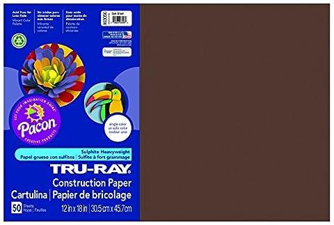 Tru-Ray Construction Paper, 76 lbs., 12 x 18, Dark Brown, 50 Sheets/Pack