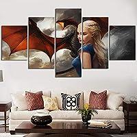 ZYUN Lona Mural Pintura Póster 5 Piezas Game of Thrones Daenerys Targaryen Dragón Madre Pintura Mural para La Decoración De La Sala De Estar,A,30×40x2+30×60x2+30x80×1