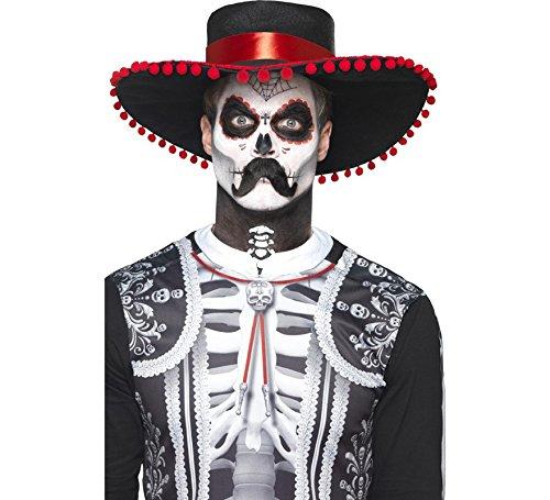 Smiffys Herren Tag der Toten Senor Bones Make-Up Set, Gesichtsfarbe, Stift, Schnurrbart und Applikatoren, Schwarz und Weiß, 44926