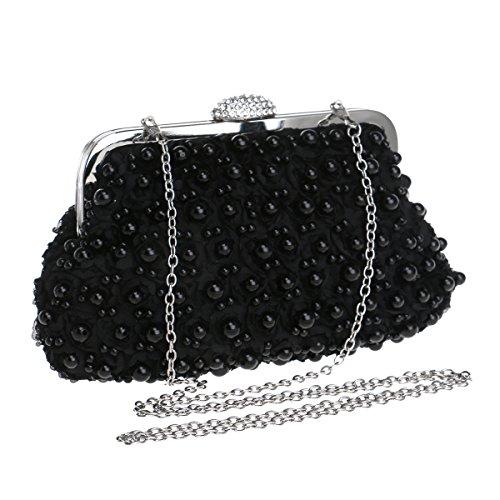 Schwarz Abend-handtasche (MMYOMI Vintage Floral Perlen Clutch Hochzeit Prom Bag Braut Damen Crossbody Abend Handtasche (Schwarz))