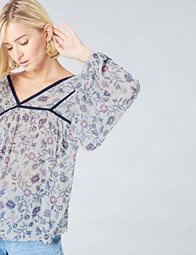 FIND Damen Bluse Floral Print Mehrfarbig (Blue)