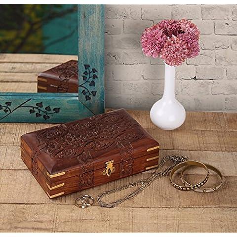 Store Indya, A mano aggraziata legno intagliato gingillo decorativi Jewellery Box con Mughal Ispirato floreali Carving & Brass