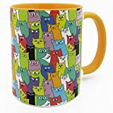 The Funny Cat Collection Mug with yellow inner and handle by Half a Donkey