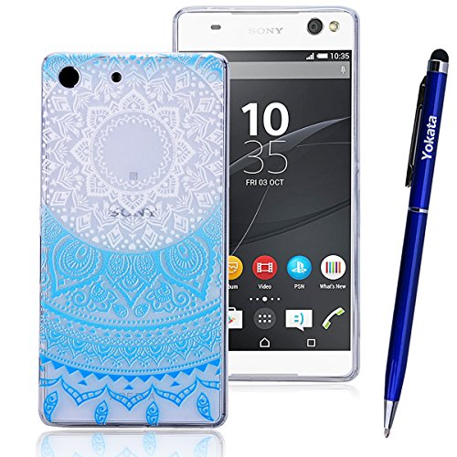 Für Sony Xperia M5, Yokata Crystal Hülle Gradient Case Soft Weich TPU Silikon Gel Backcover mit Mandala Design Schutzhülle Cover Klar Transparent Skin Schutz Schale Protective Cover - Blau