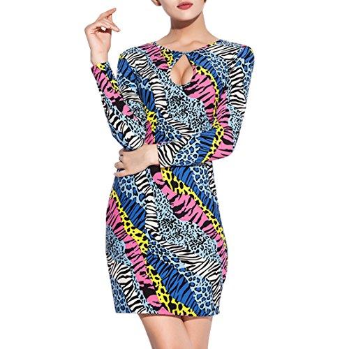 SiDiOU Group Sexy Vestito elastico di 100% cotone con taglio basso per donna, sottile gonna con copertura di anca Multicolore
