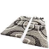 PHC Bettumrandung Läufer Shaggy Hochflor Teppich Grau Schwarz Creme Läuferset 3 Tlg, Grösse:2mal 70x140 1mal 70x250