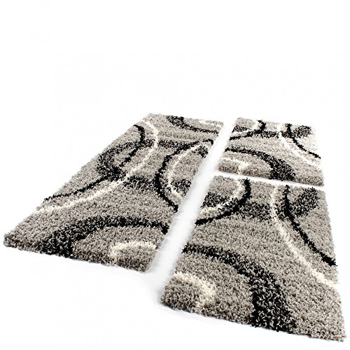 Bettumrandung Läufer Shaggy Hochflor Teppich Grau Schwarz Creme Läuferset 3 Tlg, Grösse:2mal 70x140 1mal 70x250