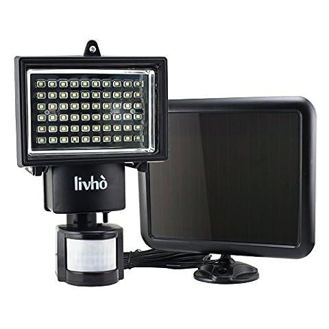 LIVHÒ | 60 LED Solarleuchte Solarlampen Wasserdicht mit Bewegungsmelder und Solarkollektor - 3 Einstellungsmöglichkeiten Sicherheitslampe, Lichtempfindlichkeit, Zeitschalter, Bewegungssensor