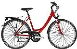 Damen Fahrrad 28 Zoll - Pegasus Solero SL - 24 Gänge Kettenschaltung Tiefeinsteiger Trekkingrad - rot