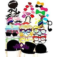 tankerstreet 58pcs Photo Booth puntelli occhiali baffi labbra rosse Papillon cappelli su bastoni per Natale, Capodanno e feste compleanno Favor