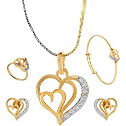 Cardinal American Diamond Fashion Jewellerry Latest Design Traditional Heart Shape Stylish Pendant Necklace Set with earring,Ring,Bracelet,Chain For Women/Girls(Combo of Pendant,Earring,Ring,Bracelet with Chain)