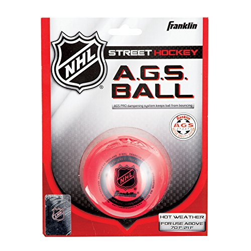 FRANKLIN - AGS Streethockey Ball NHL I Ball für Roller- und Inlinehockey I Outdoor Ball mit Active-Gravity-System I speziell gedämpfte Flüssigkeit im Ballinneren I mittelhart I hitzetauglich - Rot
