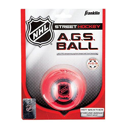 Franklin AGS Streethockey Ball NHL I Ball für Roller- und Inlinehockey I Outdoor Ball mit Active-Gravity-System I speziell gedämpfte Flüssigkeit im Ballinneren I mittelhart I hitzetauglich - Rot (Nhl Hockey-puck Gewicht)