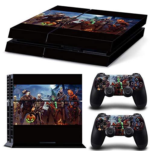 RemyCoo PlayStation 4 Populaires Fortnite Battle Royale Autocollant En Peau De Couverture pour PS4 Console + 2 Peaux Pour Contrôleurs PS4 – Noir
