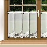Modern bestickte Scheibengardine Marlo mit weiß-grauem Stickerei-Muster in 45 cm Höhe