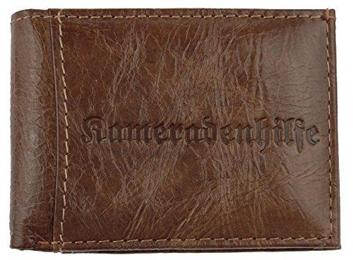 NB24 Geldbörse (5519) Mini-Ledergeldbörse Kameradenhilfe, Portemonnaie für Herren Echt Leder in braun (195), kleine Ausführung, Größe ca. 9,5 x 6,5 cm, Minibörse, Kleinlederwaren