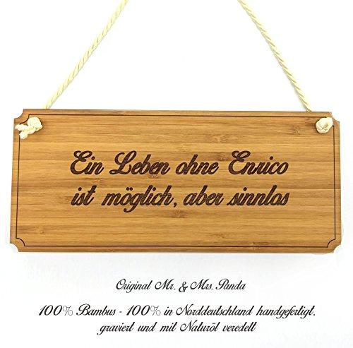 Mr. & Mrs. Panda Türschild Enrico Classic Schild - 100% handgefertigt aus Bambus Holz - Anhänger, Geschenk, Vorname, Name, Initialien, Graviert, Gravur, Schlüsselbund, handmade, exklusiv - Enrico Bambus