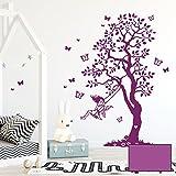 Wandtattoo Baum Elfe Fee auf Schaukel & Schmetterlinge Kinderzimmer Wanddeko Wandgestaltung M2335 - ausgewählte Farbe: *lavendel* ausgewählte Größe: *XXL - 180cm hoch x 105cm breit + Schmetterlinge*