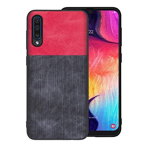 Riyeri Handyhülle Compatible with Samsung Galaxy A50 Hülle Slim Hard PC Weicher Rand Silikonrahmen Denim Cloth Handy Schutz Schutzhülle für Samsung A50 Smartphone 2019 (A50, Gray+red) -