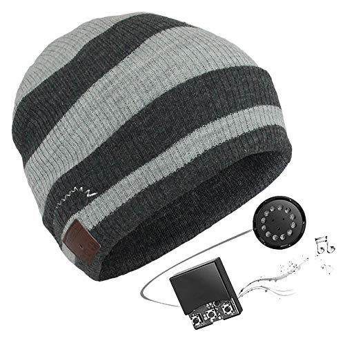 ütze Cap mit V4.2 Wireless Bluetooth Music Headset Geeignet für Outdoor Winter Bergsteigen Laufen,Hellgrau + Dunkelgrau ()