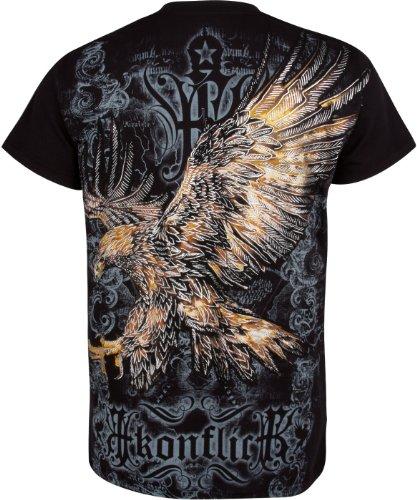 Sakkas Adler & Fleur De Lis T-Shirt aus Baumwolle, Metallic silbern eingefasster Ärmel Schwarz