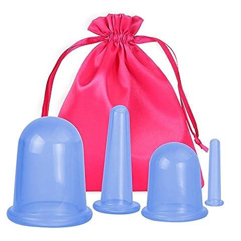 Haichen Coque en silicone ventouses de massage Therapy 4pcs/lot anti cellulite Massage ventouses pour corps détox, Soulage les douleurs musculaires et articulaires