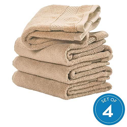 iDesign 4er-Set Handtücher, kleines Handtuch mit gewebter Verzierung aus Baumwolle, weiches und saugfähiges Handtuch Set mit Aufhänger für Waschbecken und Gäste-WC, beige -