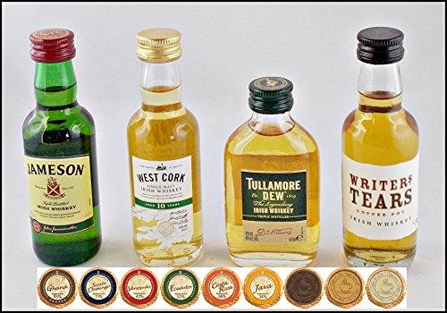 Set 4 irische Whiskey Miniaturen (je 5cl) mit 9 DreiMeister Edel Schokoladen, kostenloser Versand