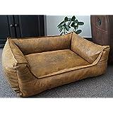 Hundebettenmanufaktur - Cama-sofá para perro con aspecto de ante, lavable