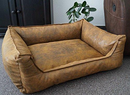 Hundebett Wildlederoptik Hundesofa Schlafplatz Velluto Hundebettenmanufaktur waschbar Farbe und Größe wählbar (105 cm X 80 cm, amber) (Reißverschluss Amber)
