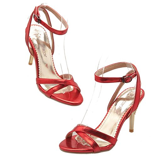 Ankle Mode Sandals COOLCEPT Strap Wedding Strappy Shoes Cross Event Rot Party Damen Criss tgqwF5q