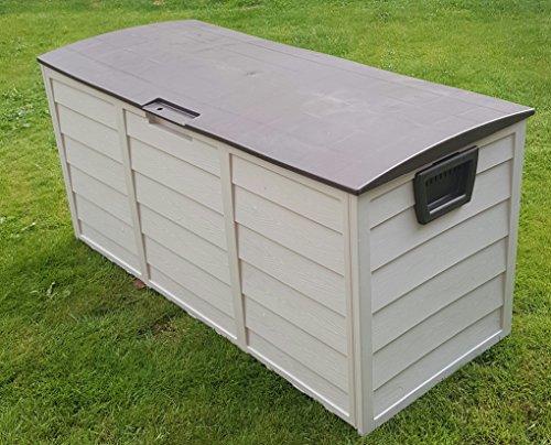 Jardín Baúl de almacenaje para exteriores (plástico, 248L, color marrón